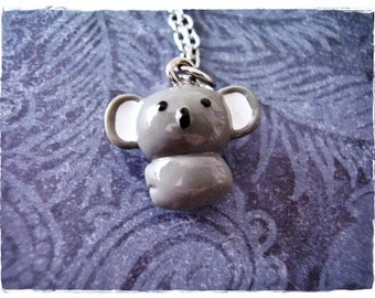 Grey Koala Necklace - Grey Resin Koala Charm on a Delicate Silver Plated Cable Chain or Charm Only