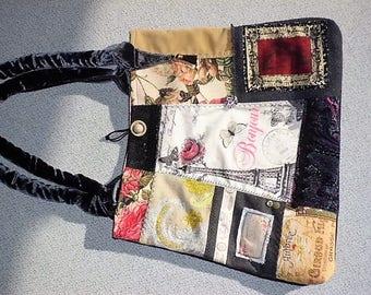 Bag, handbag, shoulder bag, patchwork, Eiffel Tower, Brocade, roses, velvet,