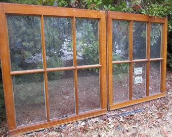 2- 23 x 26 Vintage Window sash old 6 pane from 1955