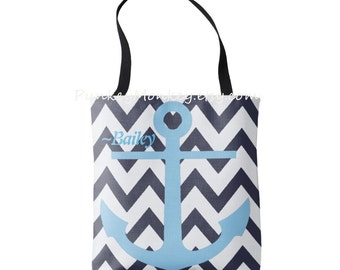 Anchor tote bag nautical tote custom color anchor and personalized or not navy coast guard ocean beach tote beach wedding school and more