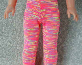 Leggings handmade for 14.5 inch Wellie Wishers tkct1219 purple/yellow/coral stripes READY TO SHIP