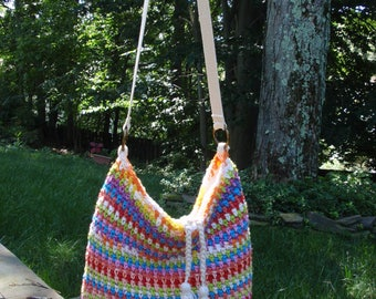 Cotton Tote Bag Crocheted in Multi Colors Lined Cross Body