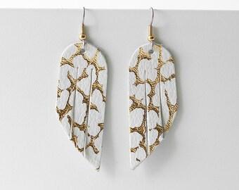 Leather Earrings / Mini Fringe / Gold Marble