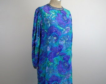 CLEARANCE // Vintage 1980s Tunic Dress 80's Blue and Purple Silk and Sequin Glam Rock Tunic Size L