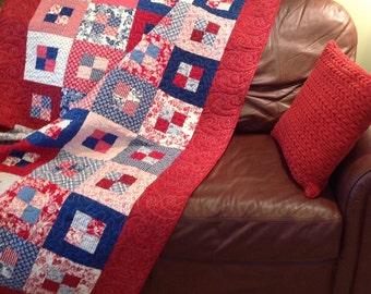 Patriotic Four Patch Quilt