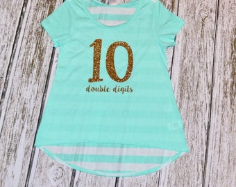 Tenth Birthday, Double Digits, 10th Birthday Girl, Mint and Gold, 10th birthday,Girl, Birthday, Glitter, Birthday Gift, Gift, High Low, Gold