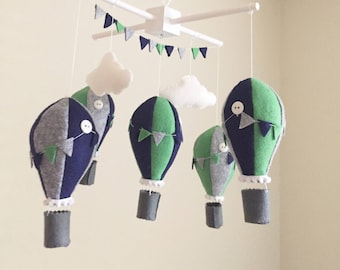 baby mobile, green gray mobile, navy mobile, hot air balloon mobile, navy hot air balloon mobile, blue nursery decor, gray nursery decor