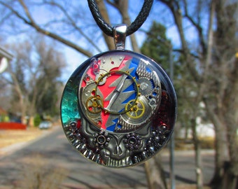 Huge Grateful Dead Inspired Steal Your Face Steampunk Bearing Pendant