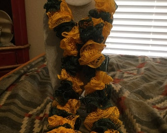 Green and Gold Hand Knit Spiral Scarf
