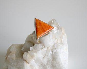 Orange Spiny Oyster Sterling Triangle Ring 4