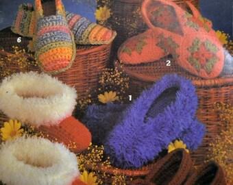 Crocheted Slipper Patterns for Women & Children from Leisure Arts  Leaflet 205