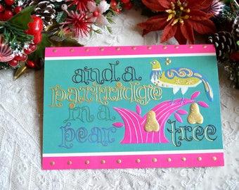 Vintage Christmas Card - Mod Pink Aqua Partridge Pear Tree - Used