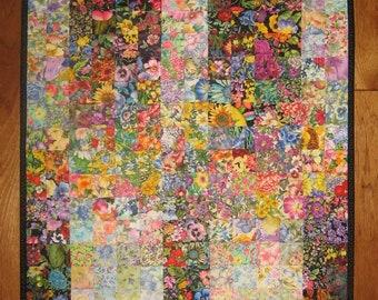 """Window Garden Art Quilt Fabric Wall Hanging, Textile Art 37x22"""", Light Dark Watercolor Shabby Chic Wall Art Handmade Quilt"""