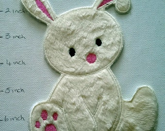 Fluffy Bunny (Iron on)  Applique, iron on patch, iron on