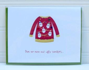 Ugly Sweater Card, Ugly Christmas Sweater, Funny Christmas Card, Custom Card, Personalized Card, Handmade Card,  Funny Holiday Card, Santa