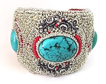Wide Cuff Bracelet turquoise and bead embroidery
