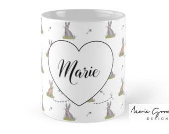 watercolor bunny, bunny watercolour, bunny mug, bunny rabbit gift, easter bunny gift, bunny gift, personalized bunny, bunny lover, mug