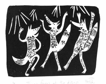 Three foxes at the disco - lino cut print, fox, art, handmade, dancing, print, wall art, humour, illustration, linoprint, black and white,