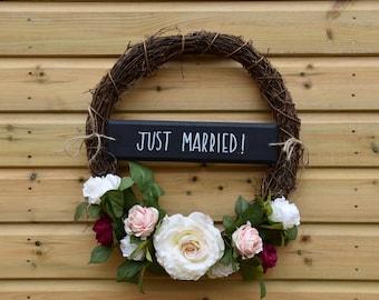 Rustic wedding wreath, wedding wreath, just married sign, wedding decor, vintage wedding, woodland theme,  wedding sign, wedding accessories