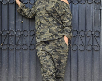 Casual Military Urban SET/Drop crotch pants/Loose military top/Extravagant set/Loose harem pants/One shoulder top/Sports top and pants/S0214