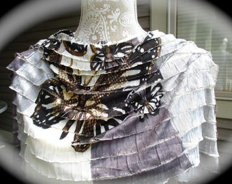 Women's ruffled shawl, silky fabric wrap, with a butterfly design. A pashmina shawl/wrap, stole, all season shawl. a butterfly fabric shawl