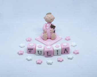 Handmade Edible Sugar Baby Christening Baptism Birthday Baby Shower Cake Topper Decoration