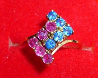 Vintage Yellow Gold Sapphire & Ruby Ring Very Retro Looking