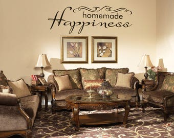 Homemade Happiness - Motivational and Inspiring Vinyl Wall Decal for Home Improvement, Typography, Be Happy, Interior Design, Decor