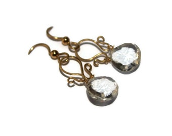 Clear Quartz  Earrings,Gold Earrings, Holiday gift, briolette gemstone earrings, wire wrapped dangle earrings