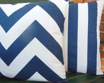 Navy Stripe Chevron Decorative Throw Pillow Cushion Covers Navy Nautical Pillows Beach Pillow for Couch Sofa Pair of in 3 Sizes Cover
