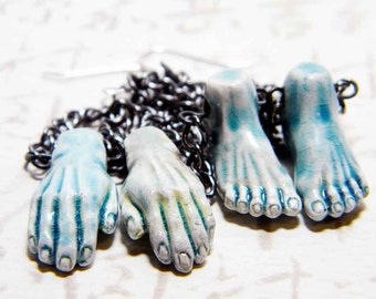 "Halloween Zombie Hands and Feet Dangle Earrings Blue Raku Sterling Silver - ""Zombie Mani Pedi"" by Whimsy Beading"
