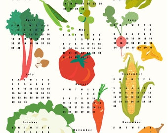 2018 Vegetable  wall calendar poster 13 x 19 inches