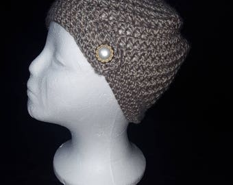 Gray Hat with Faux Button Band