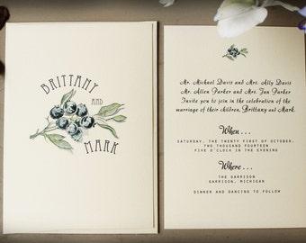 Blueberry Wedding Invitation Set | Digital Wedding Invitation Suite | Printable Wedding Invitation Vintage | Spring Wedding Invites
