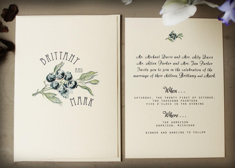Blueberry Wedding Invitation Set Digital Wedding Invitation