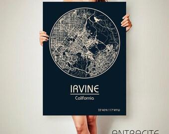 IRVINE California Map Irvine Poster City Map Irvine California Art Print Irvine California poster Irvine California map art Poster Irvine
