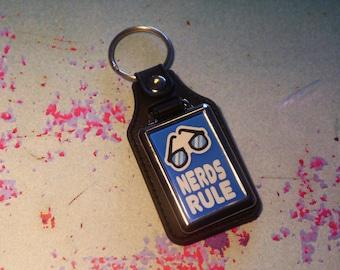 Nerds Rule Silver Plated Keyring - Key Ring - Key Chain - Blue - Fun gift - Geek - Nerd - Retro