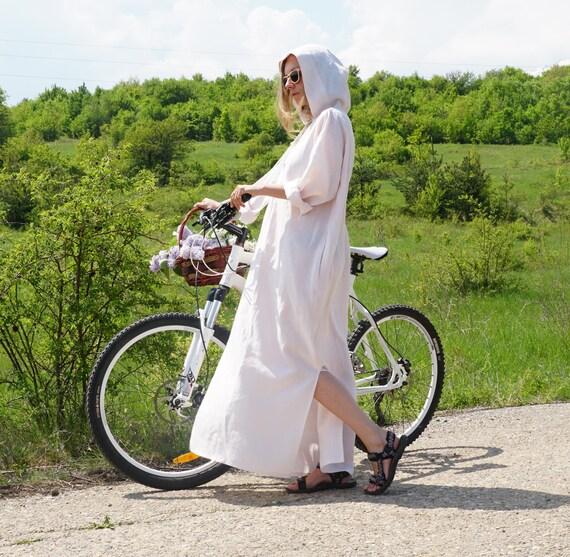 Linen  Summer Kaftan, Lightweight linen caftan, Abaya, Long Hooded Shirtdress, Oversized Simple Kaftan Dress, Linen Hoodie, Maxi Dress