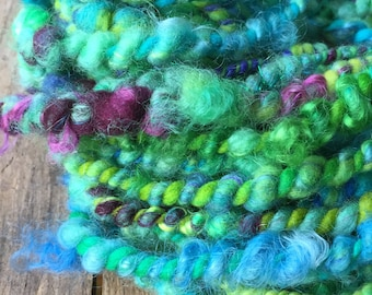 MERMAID SONG Handspun Art Yarn, Expressive, Textured, Soft, Bulky, Mixed Media 2 Ply Yarn, Knit Crochet Weave Felt Craft Project Doll Hair