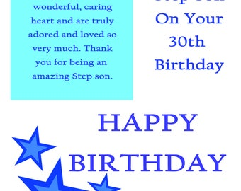Step Son 30 Birthday Card with removable laminate