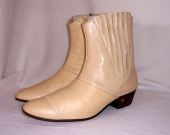 Sz 9 Vintage Short Beige Genuine Leather 1960s Men Pull On Stacy Adams Ankle Boots.