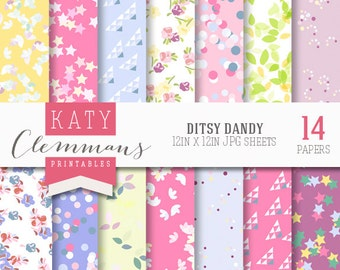 DITSY DANDY digital paper pack. Ditsy patterns, confetti, floral. Scrapbook printable sheets - instant download.