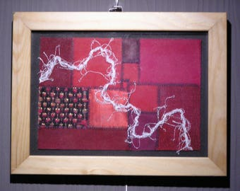 Little red textile art picture