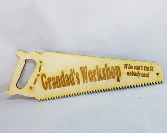 Grandad's workshop birch wood lasercut varnished sign plaque for that special person great gift for all occasions can change to grandma etc