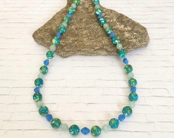 Spring Necklace Colorful Necklace Blue Green Necklace Blue Green Beaded Necklace Stone Necklace Single Strand Stone Beaded Necklace Gift Her