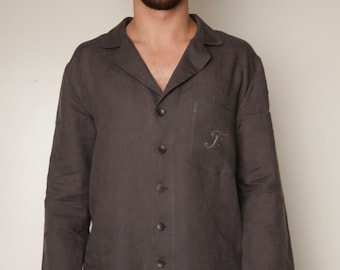 Linen Monogrammed Pajama Set For Men/ Personalized Pajama With  Bag / Luxury Linen For Men