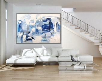 Minimalist Abstract Painting Minimal Modern Wall Art oil Painting Canvas Art Original Abstract Art Modern Interior Decor Painting White Blue