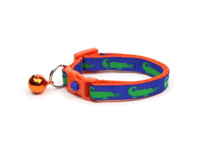 Alligator Cat Collar - Alligators on Blue over Orange - Small Cat / Kitten Size or Large Size