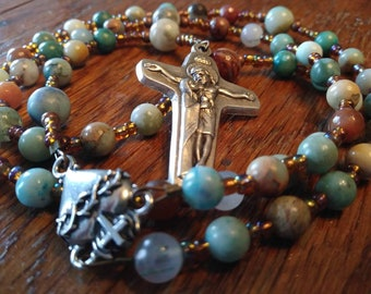 5 Decade Gemstone Rosary, Catholic Rosary, Semi-Precious, Heirloom Quality Rosary