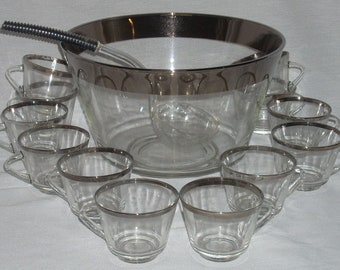 Mid Century Modern Silver Platinum Band Halo Glass Punch Bowl Cups and Ladle Dorothy Thorpe Era